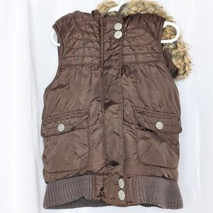 Old Navy Girl's Brown Puffer Vest Size M